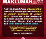 Notis Penutupan Masjid Putra - PKP 2.0