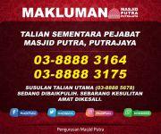 Makluman - Talian Sementara Pejabat Masjid Putra